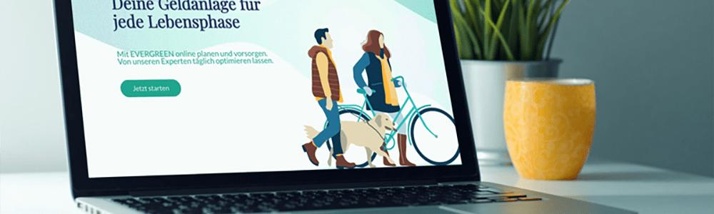 Laptop mit Evergreen-Website