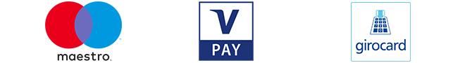 Logos von maestro, V-Pay und Girocard