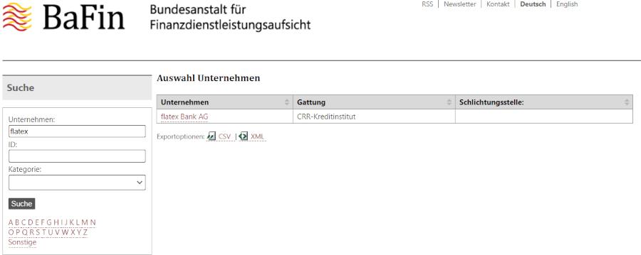 Screenshot der Unternehmensdatenbank der BaFin